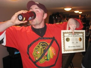 Brandon wants to hold on to his award. The Golden Phillips Drunken Skill award